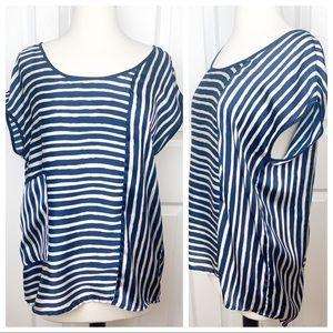 ZARA BASIC M Stripe Top Blouse - Navy & White